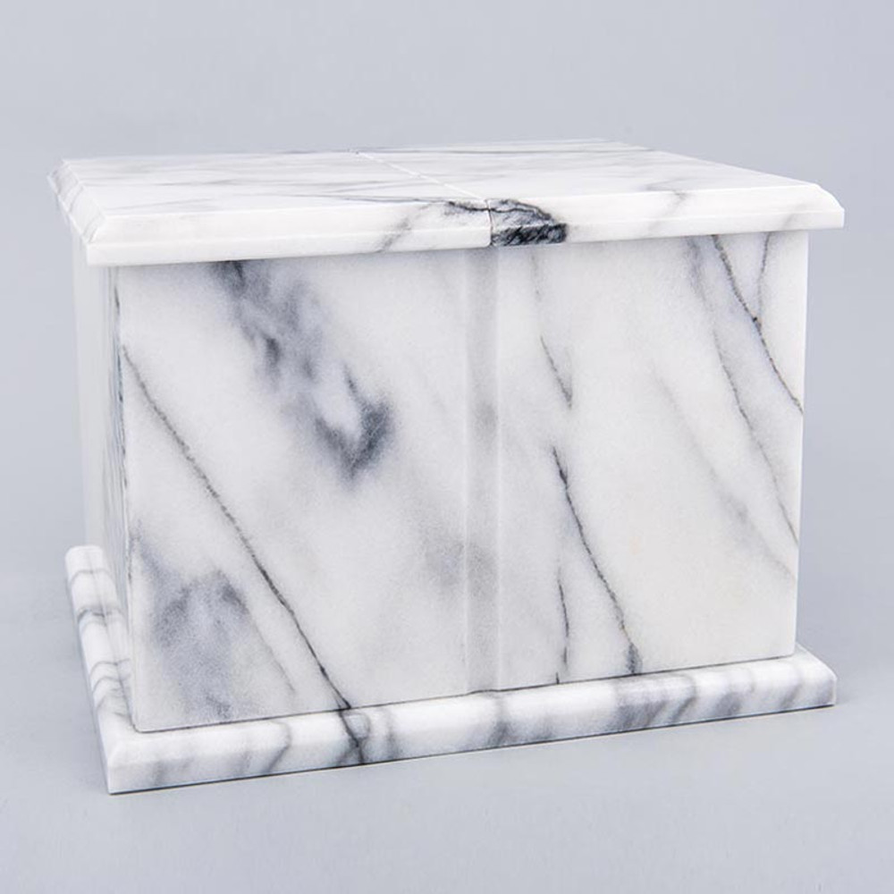Double Compartment Natural Marble Companion Urn in White