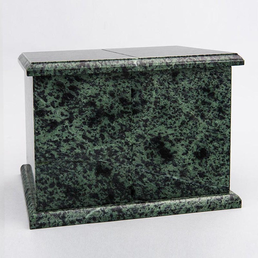 Double Compartment Natural Marble Companion Urn in Green