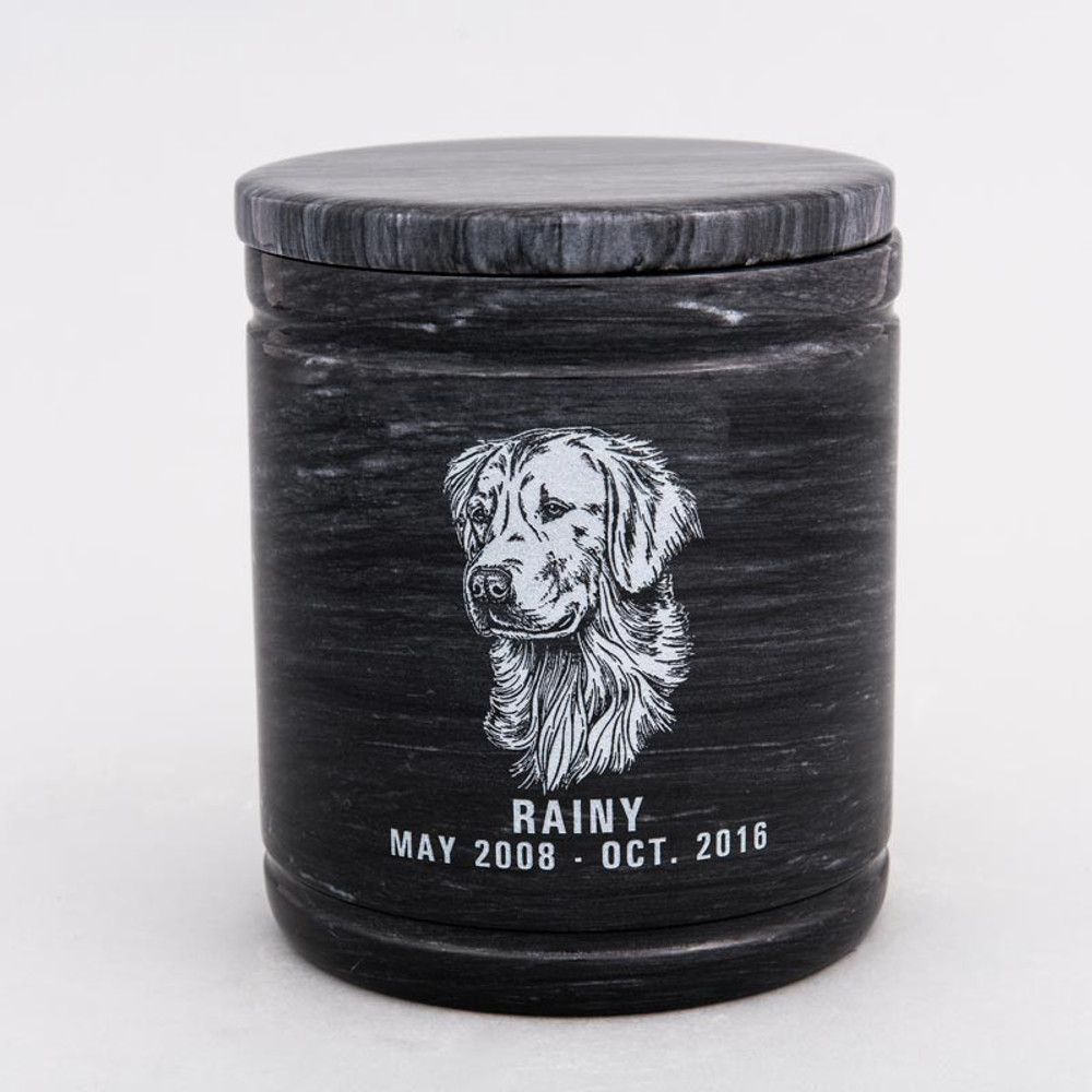 Large Round Marble Pet Urn with Inscription - Personalized with GOLDEN RETRIEVER 01