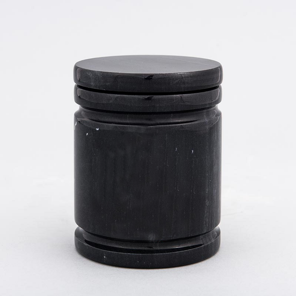 Small Round Marble Pet Urn in Black