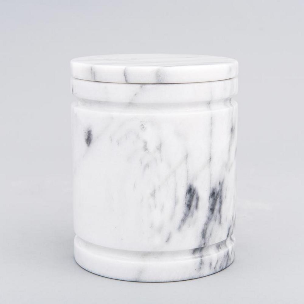 Medium Round Marble Pet Urn in White