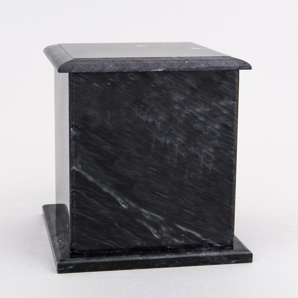Large Square Marble Pet Urn in Black