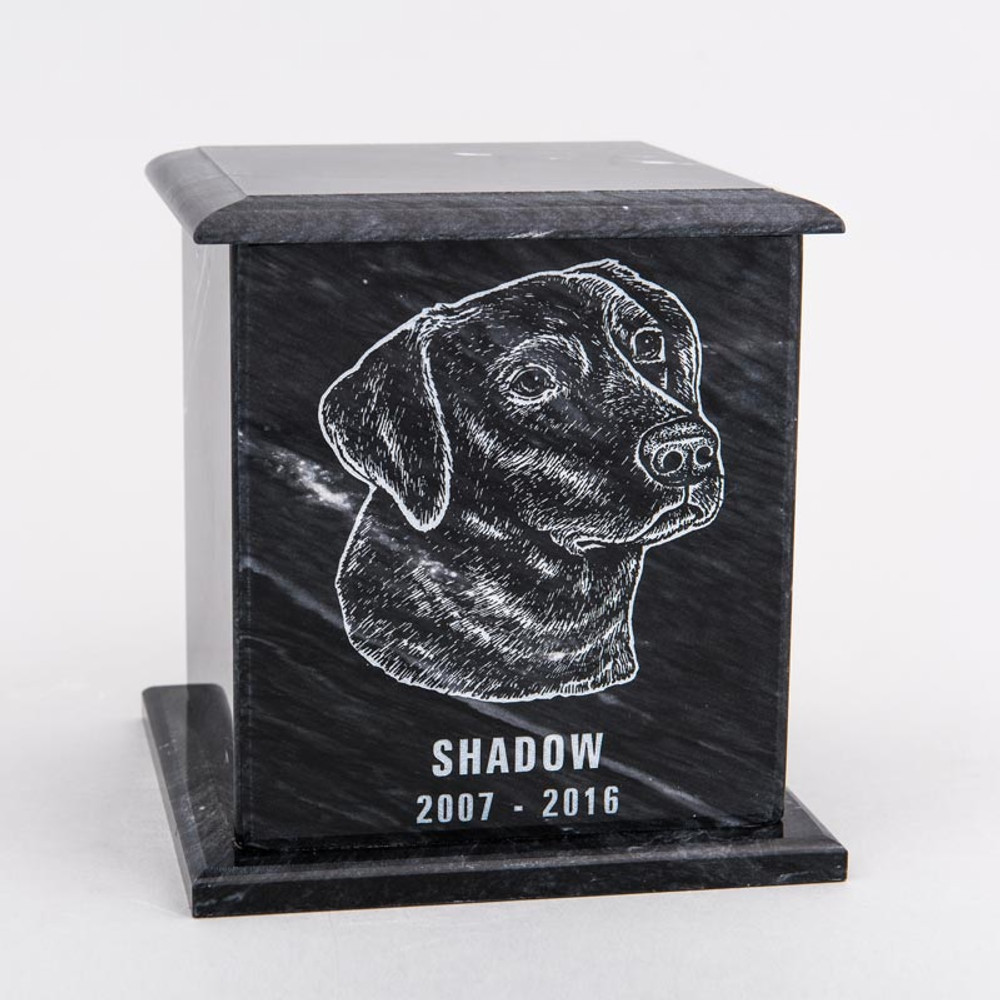 Large Square Marble Pet Urn in Black with Inscription - Personalized with LABRADOR 02