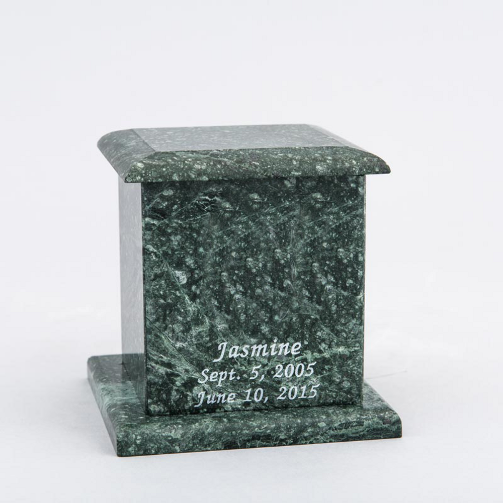 Small Square Marble Pet Urn in Green with Inscription