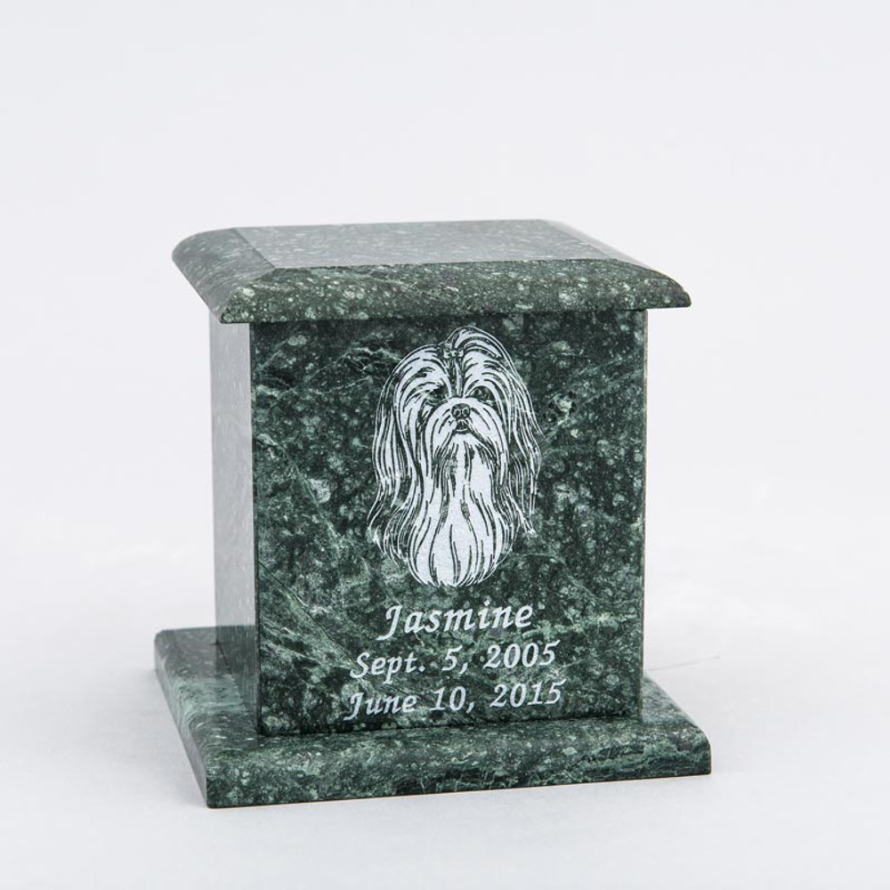 Small Square Marble Pet Urn in Green with Inscription - Personalized with SHIH TZU 02