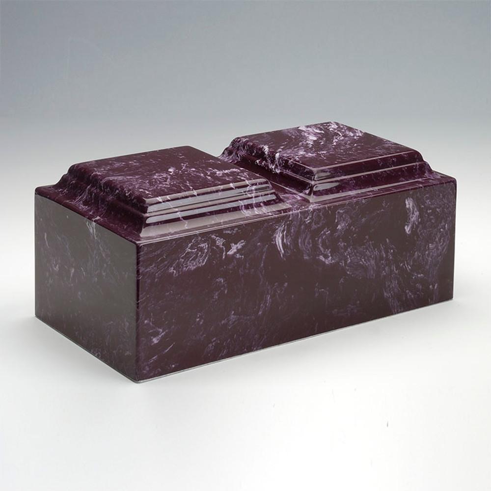 Classic Cultured Marble Companion Urn in Merlot