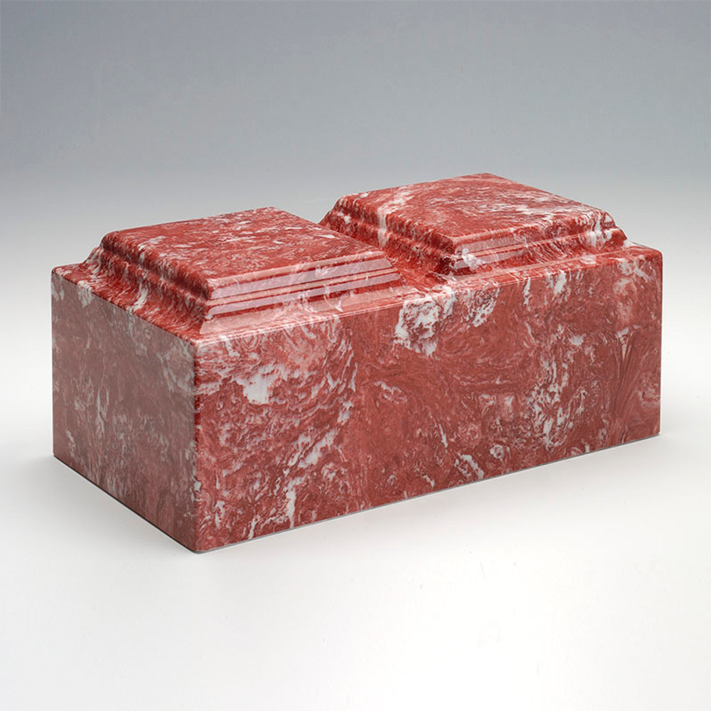 Classic Cultured Marble Companion Urn in Rose