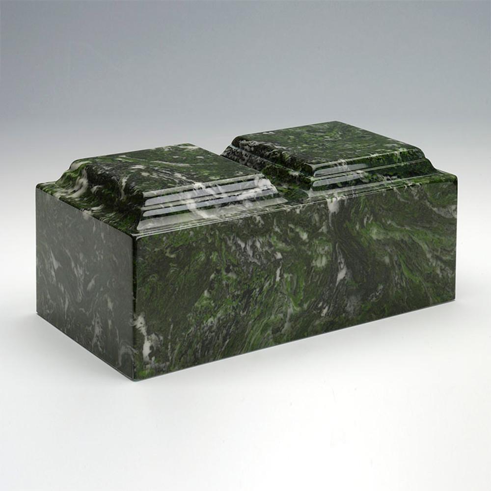 Classic Cultured Marble Companion Urn in Verde