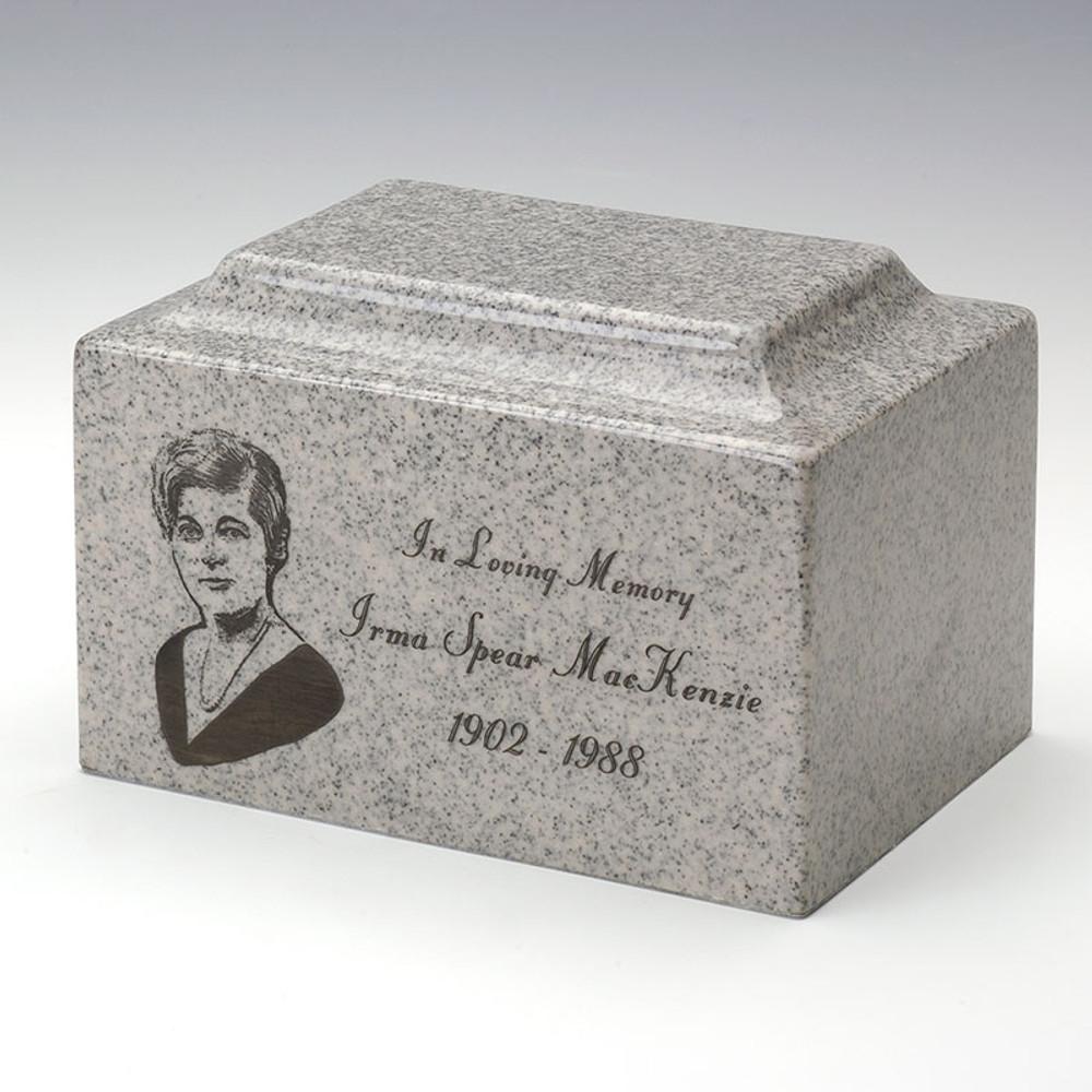 Classic Cultured Granite Urn in Mist Gray with Inscription