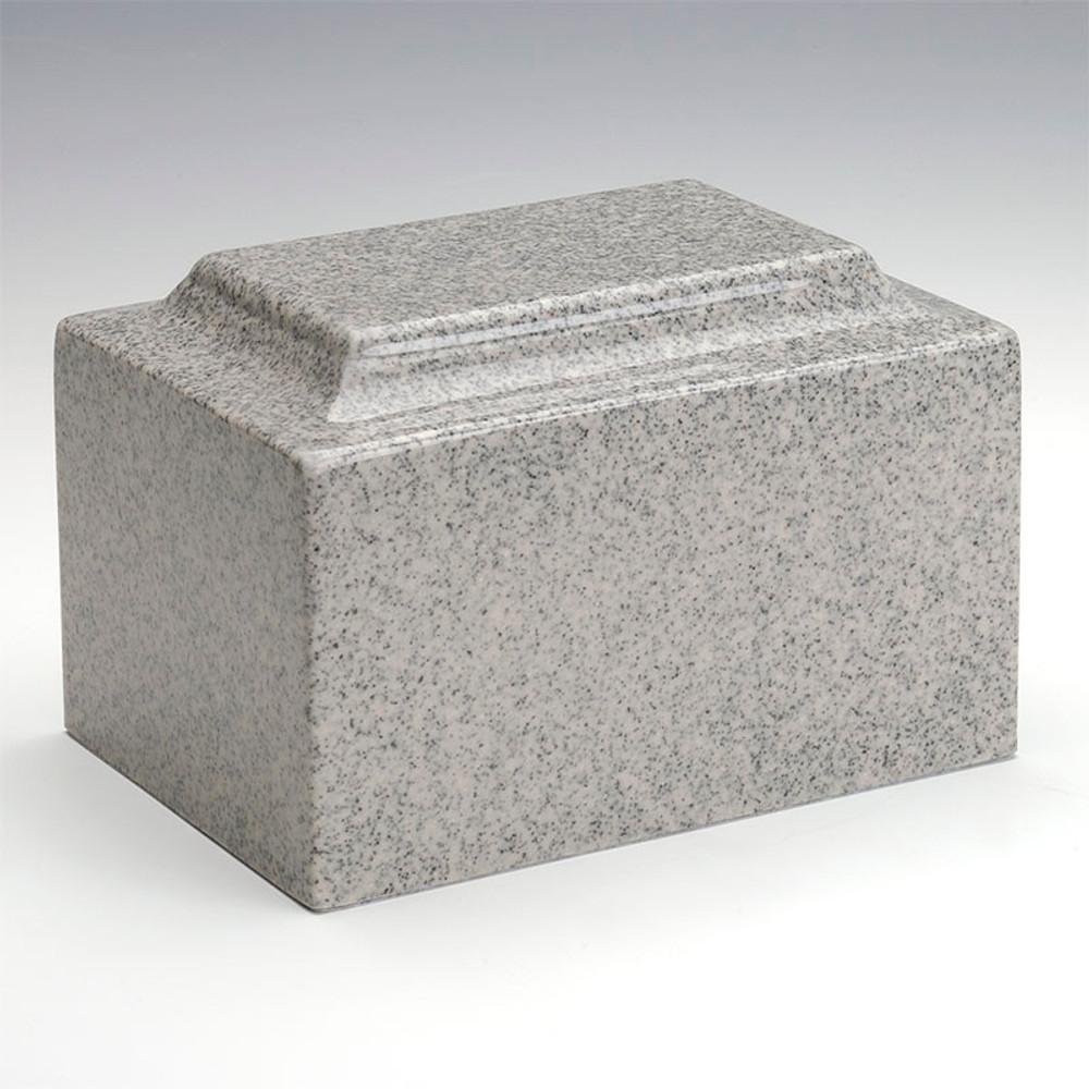 Classic Cultured Granite Urn in Mist Gray