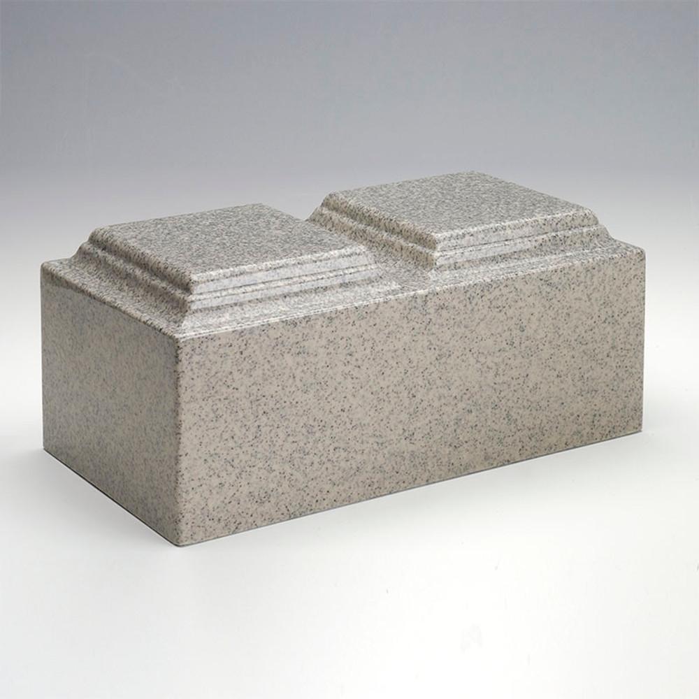 Classic Cultured Granite Companion Urn in Mist Gray
