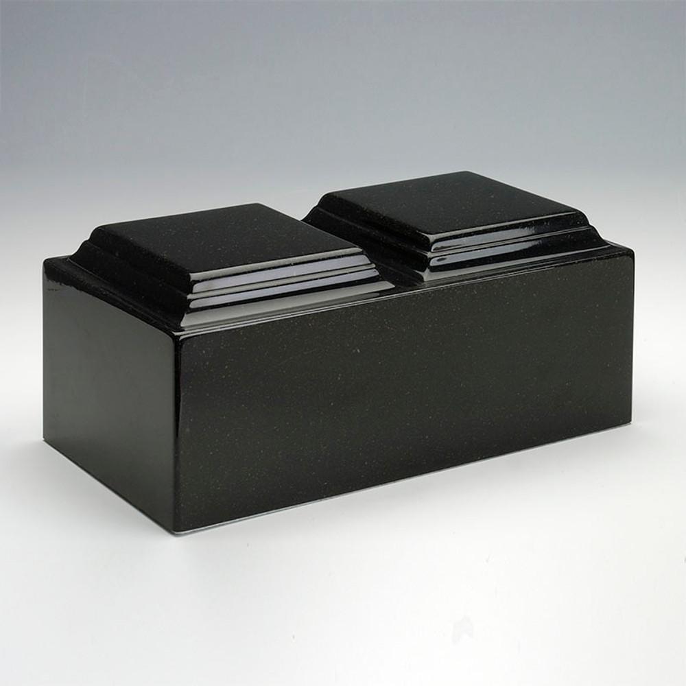 Classic Cultured Granite Companion Urn in Orca Black