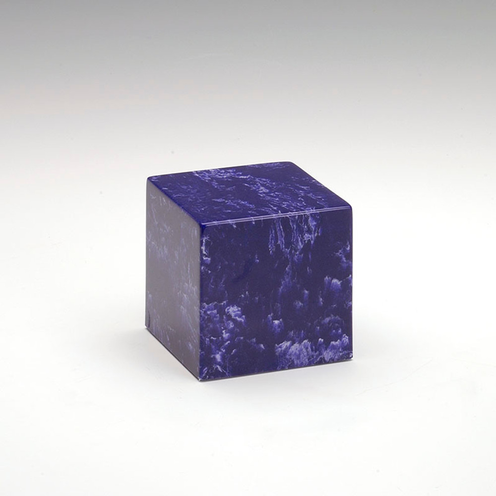 Small Cube Cultured Marble Urn in Cobalt