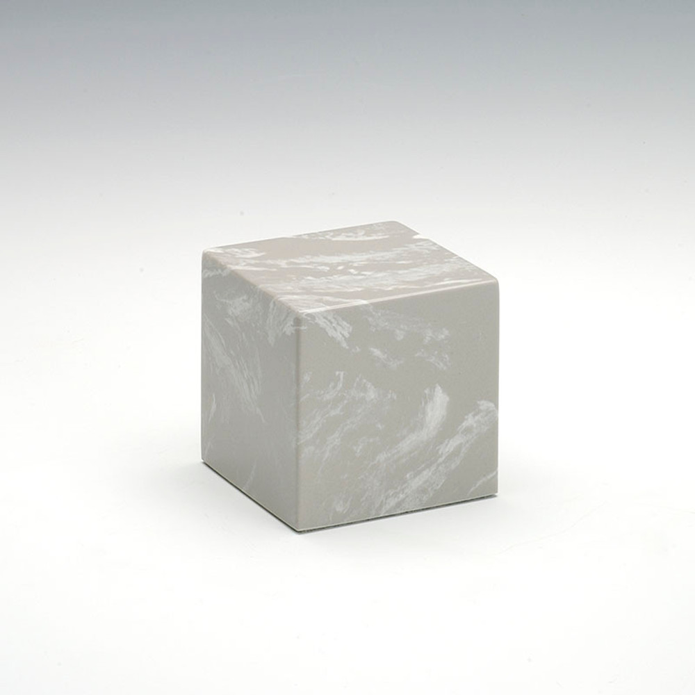 Small Cube Cultured Marble Urn in Silver Gray