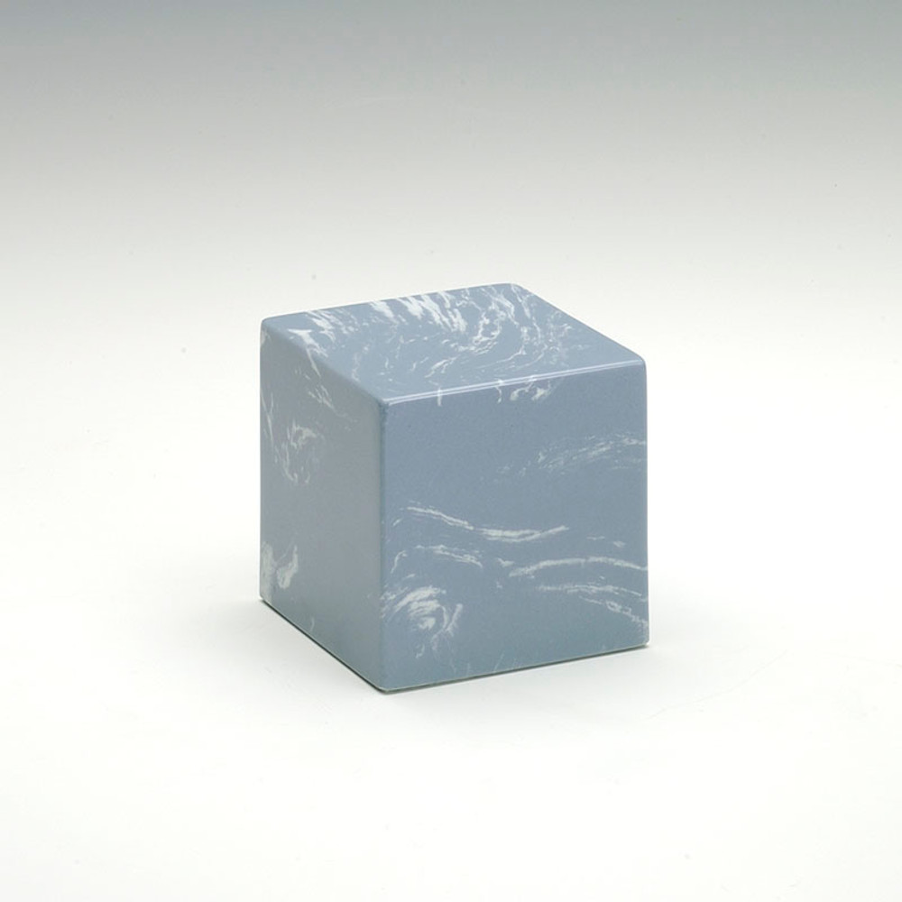 Small Cube Cultured Marble Urn in Wedgewood