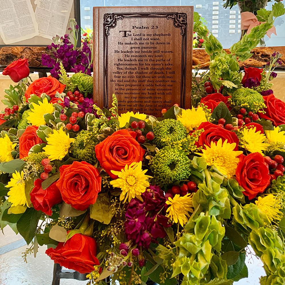 Customer Image - Shown in Mahogany - Psalm 23 Bible Urn