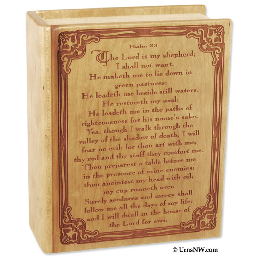 Bible Cremation Urn for Ashes - Cherry Wood - Psalm 23