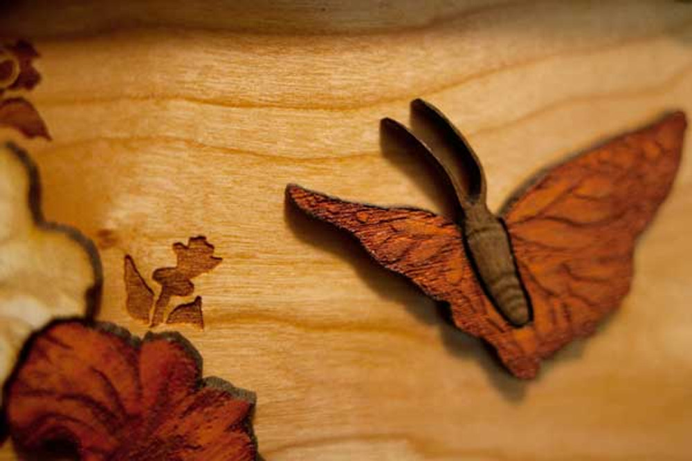 Wood engraved butterfly