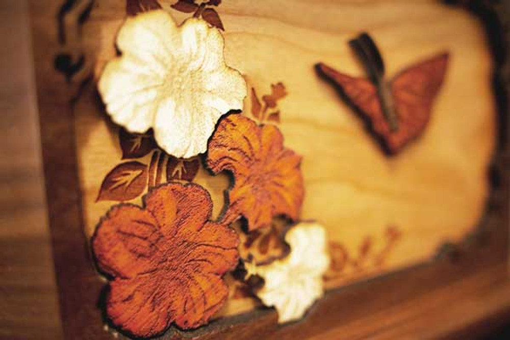 Butterfly cremation urn wood art