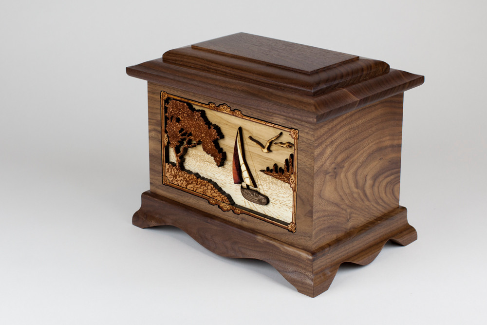 Gorgeous Walnut Wood with Sailing Inlay Art Scene