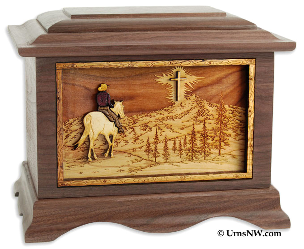 Horse Riding Home Cremation Urn in Walnut Wood (Cross)