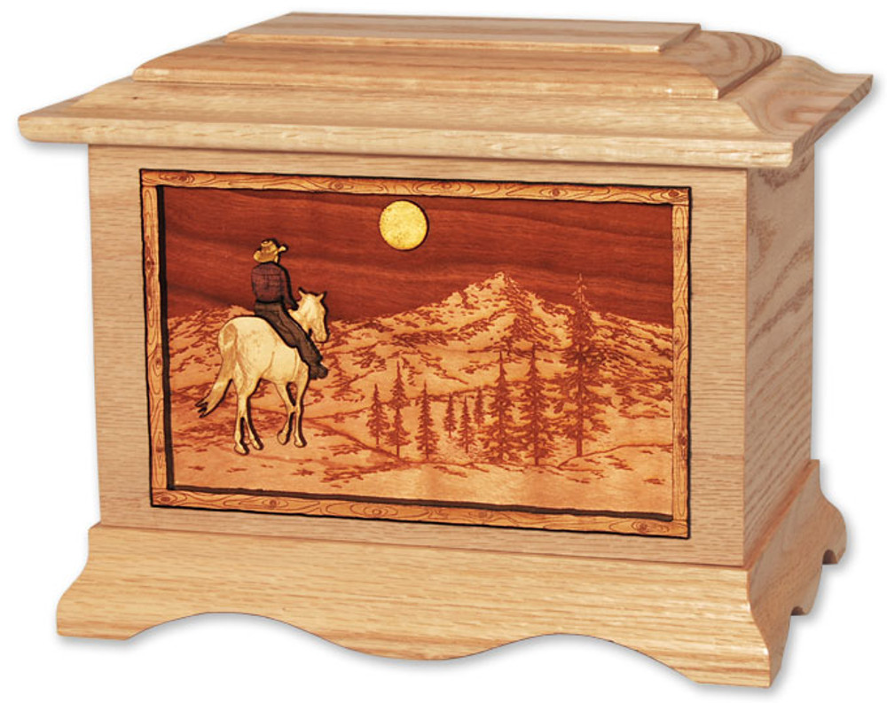 Horse Riding Home Cremation Urn in Oak Wood (Moon)