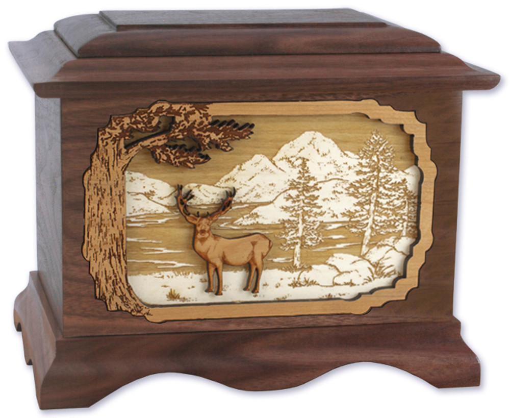 Ambassador Deer Urn in Walnut - Mule Deer
