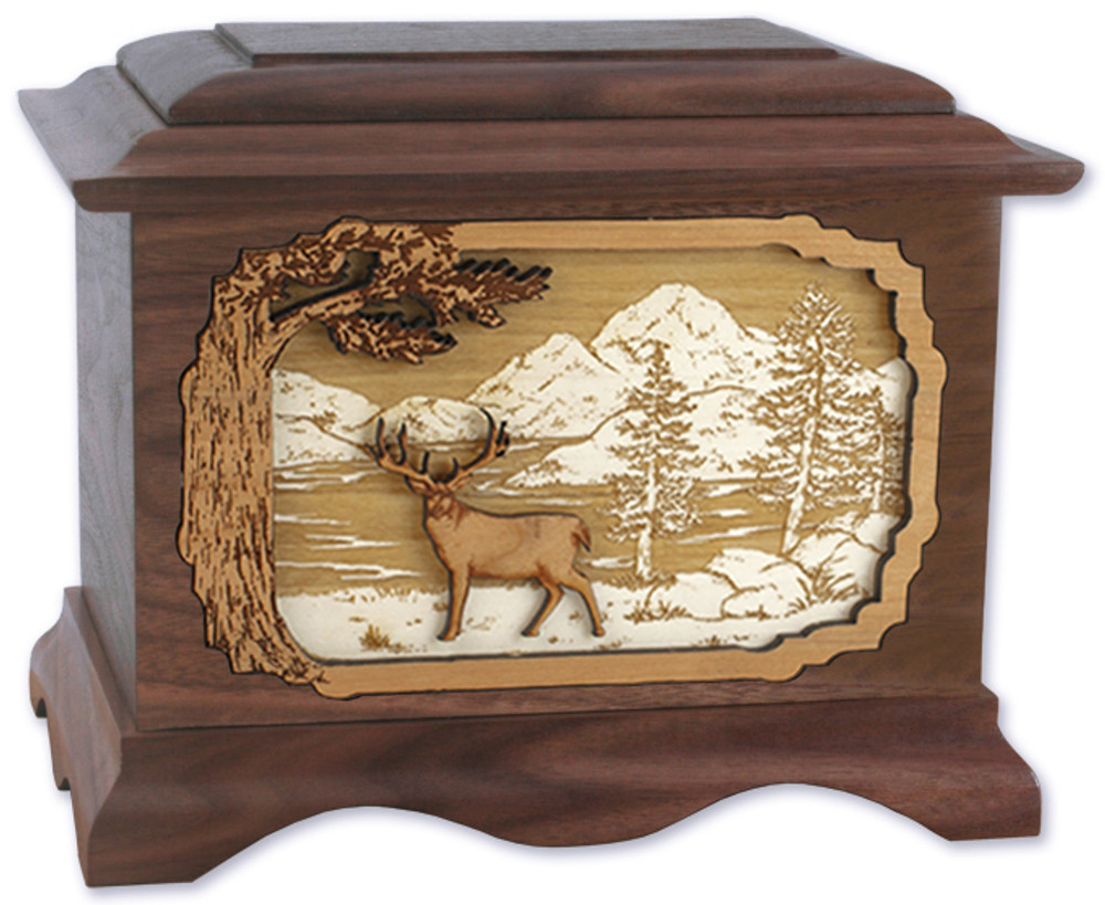 Ambassador Deer Urn in Walnut - Whitetail Deer