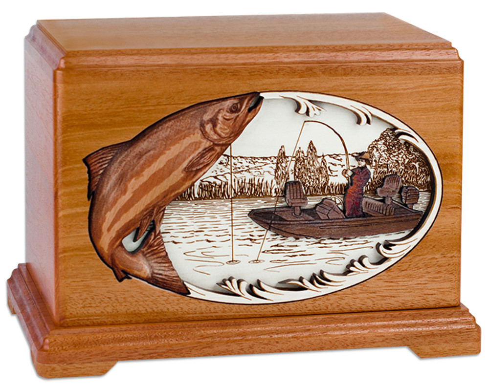 Boat Fishing Urn - Mahogany Wood - Salmon