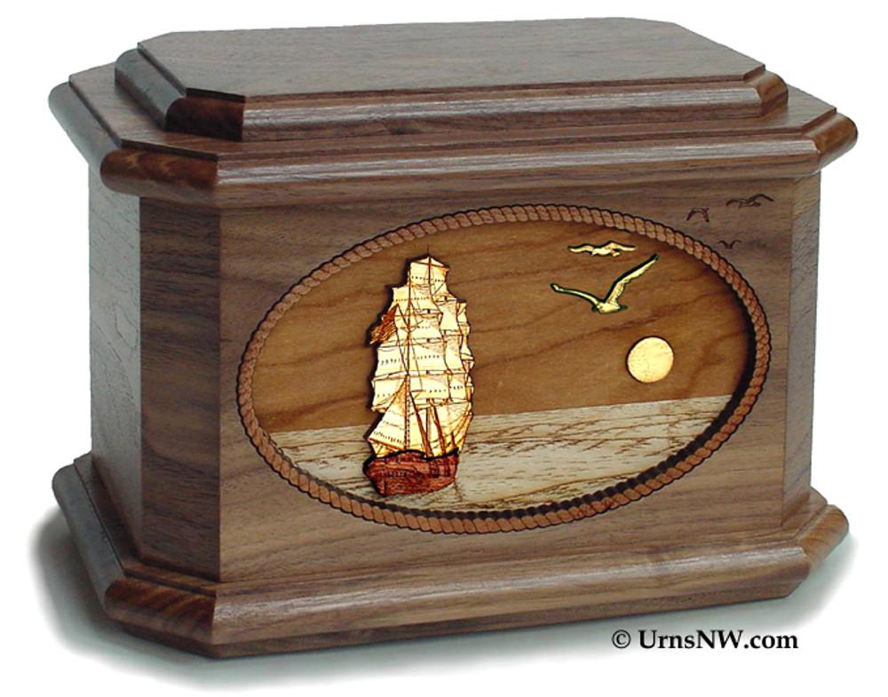Sailing Ship scene in Walnut wood