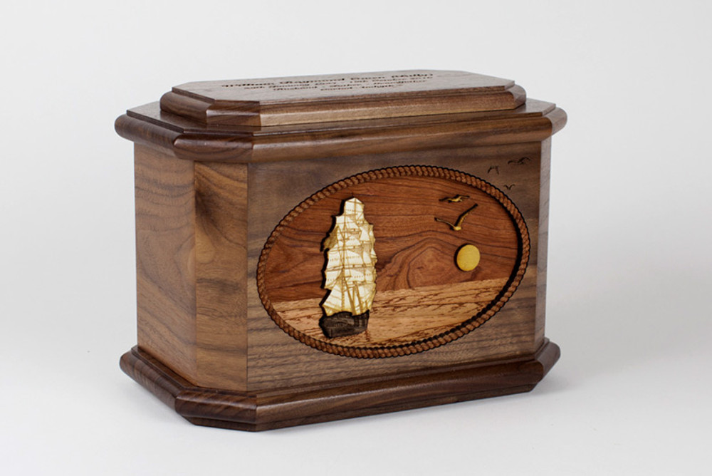 Sailing Ship Octagon Urn with 3D Inlay Wood Art