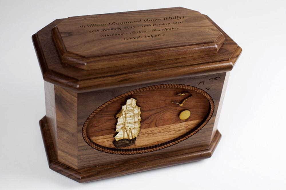 Sailing Ship Octagon Urn with 3D Inlay Wood Art