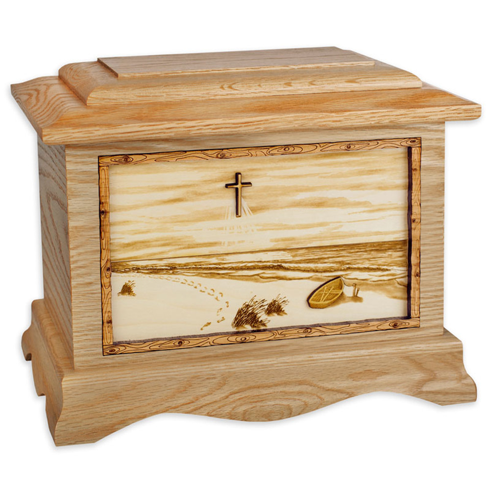 A Walk on the Beach Urn - Oak Wood w/ Cross