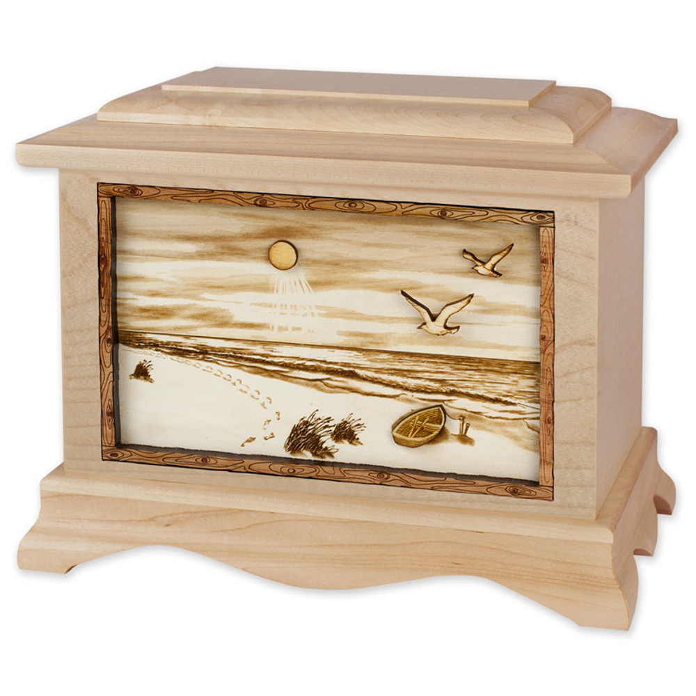 A Walk on the Beach Urn - Maple Wood