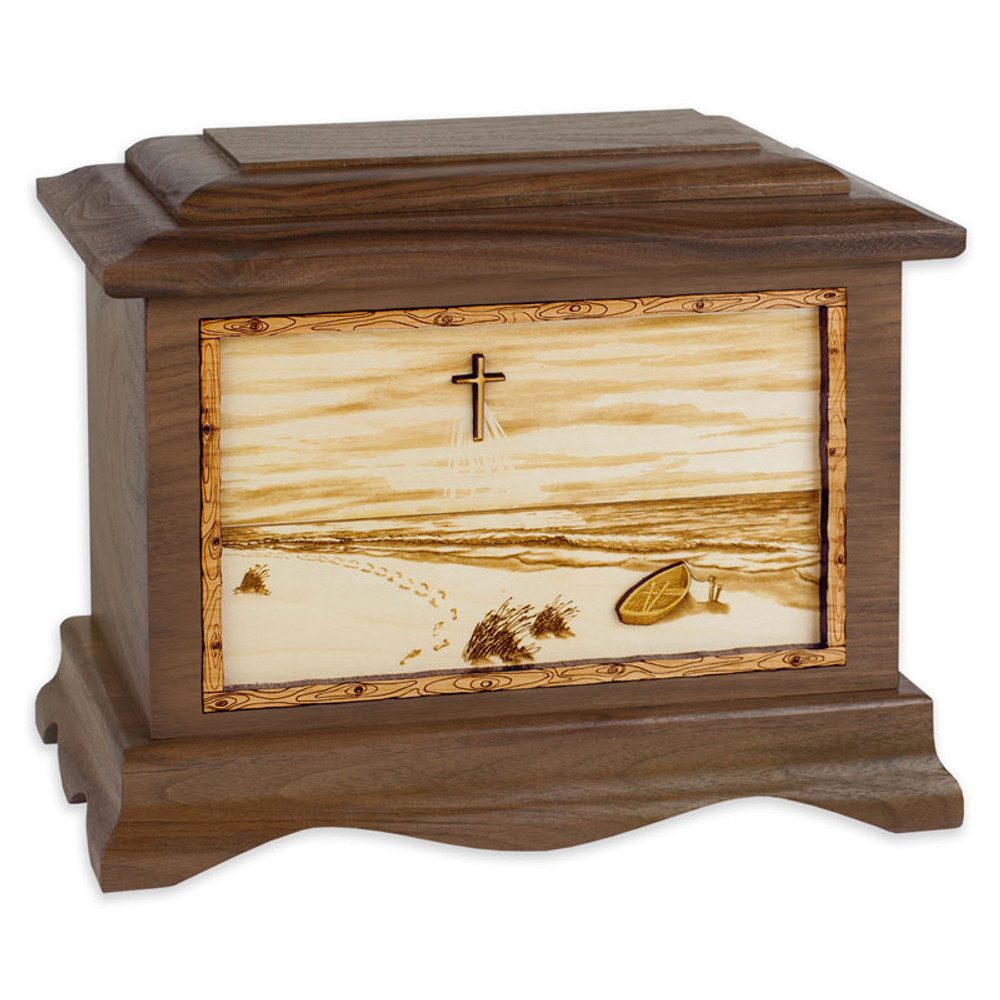A Walk on the Beach Urn - Walnut Wood w/ Cross