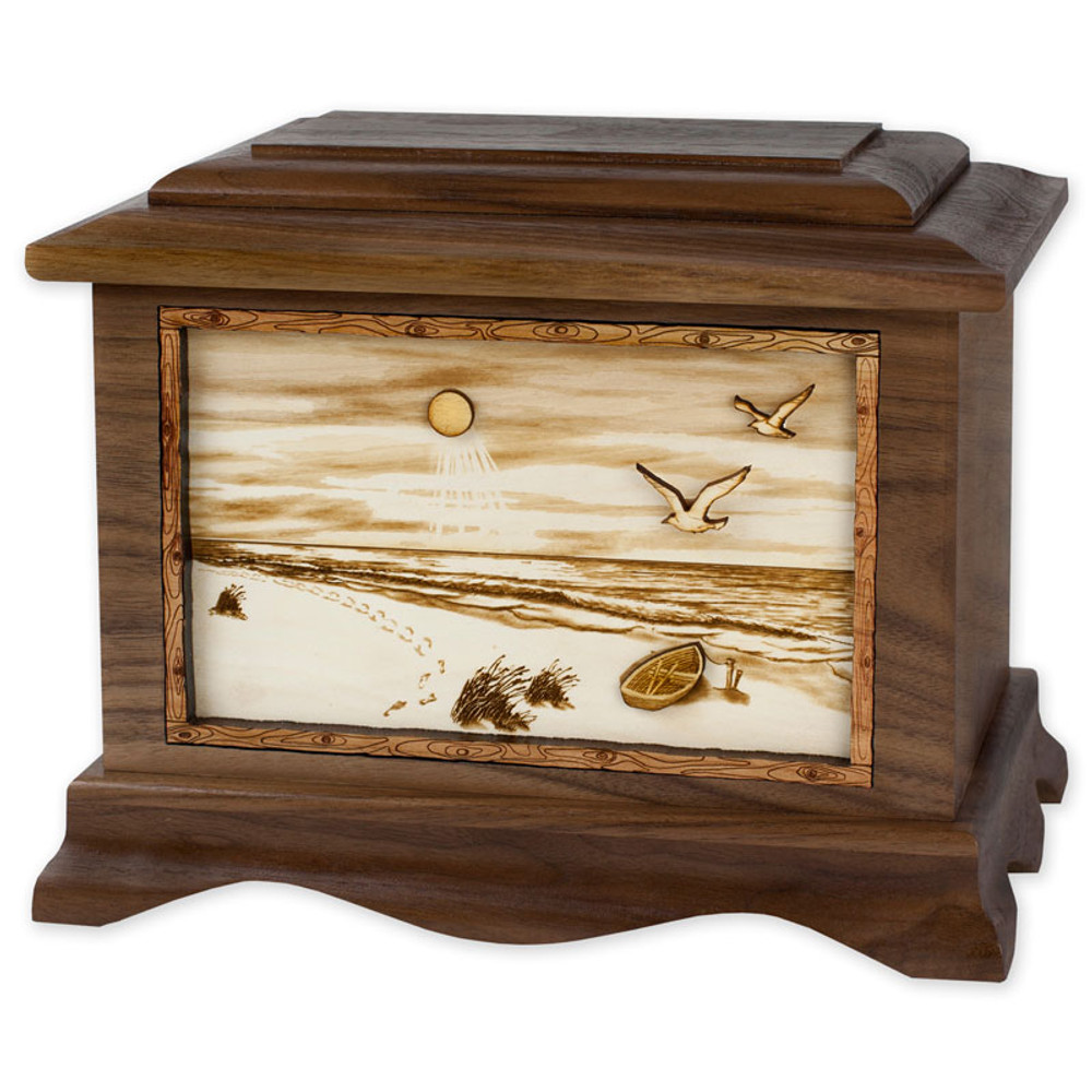 A Walk on the Beach Urn - Walnut Wood