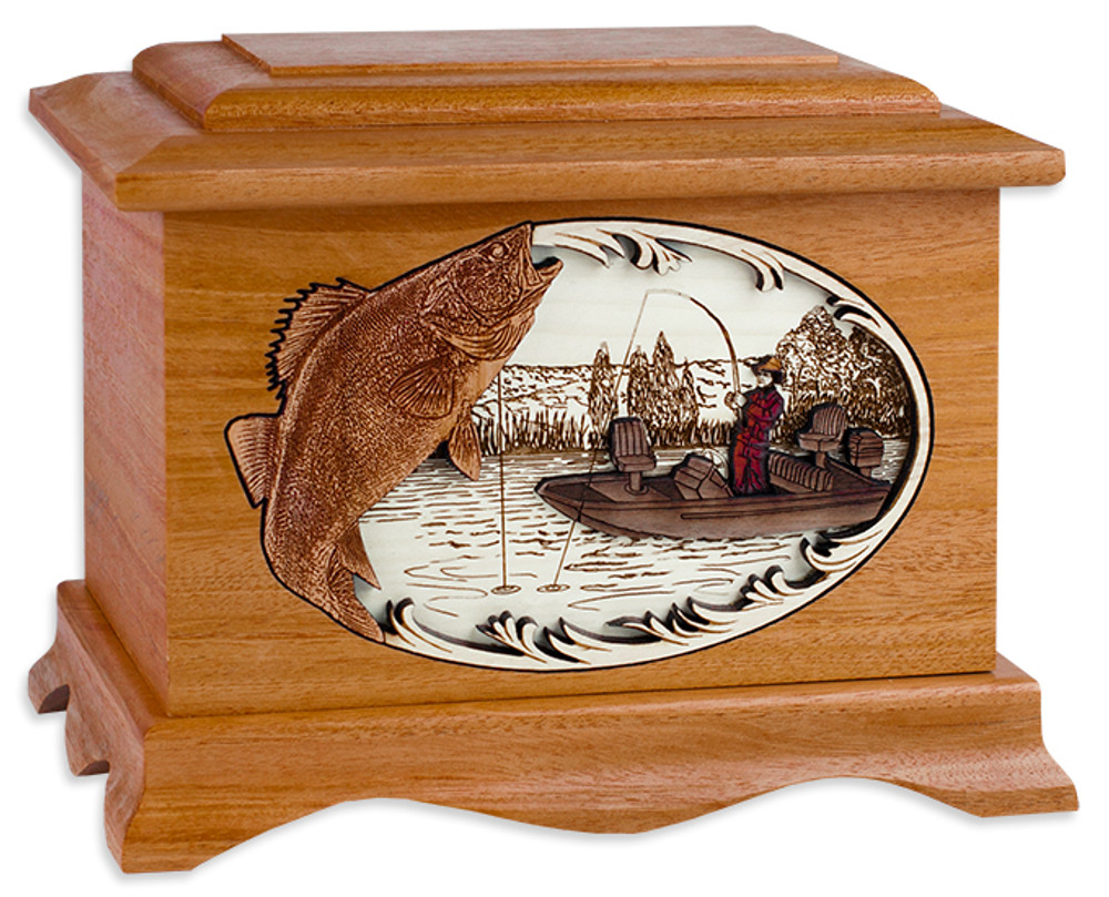 Ambassador urn with Boat Fishing Scene (MAHOGANY)