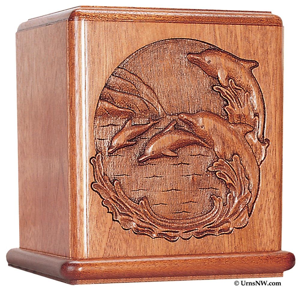 Dolphin Mahogany Urn for Ashes