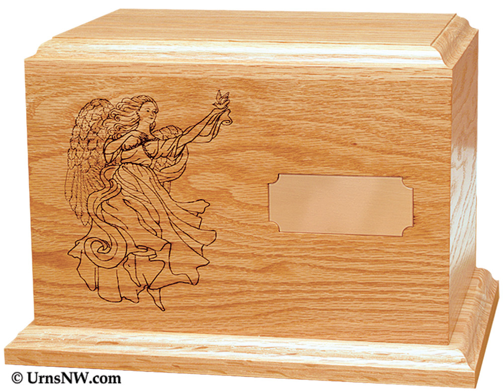 Guardian Angel Wooden Cremation Urn