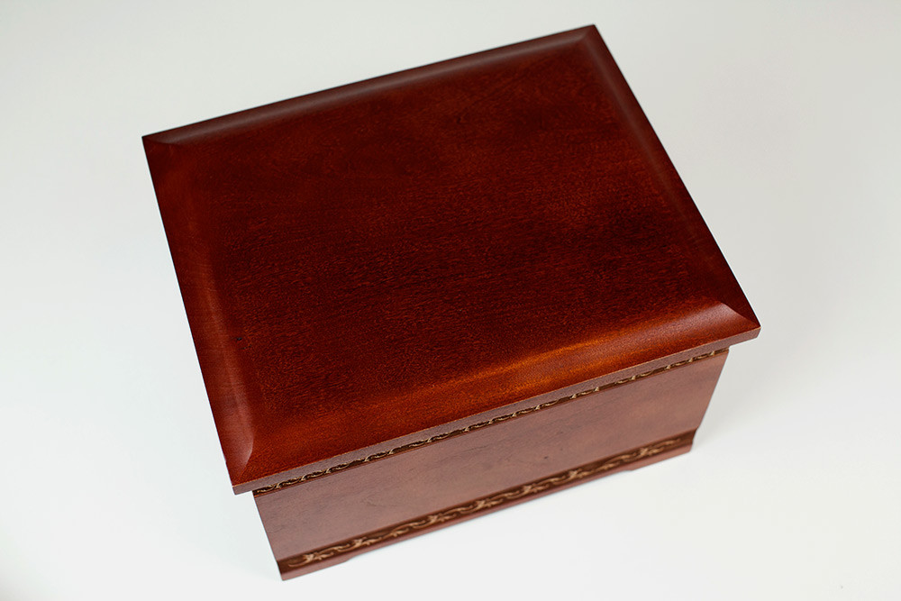Cherry Wood Cremation Urn - Top