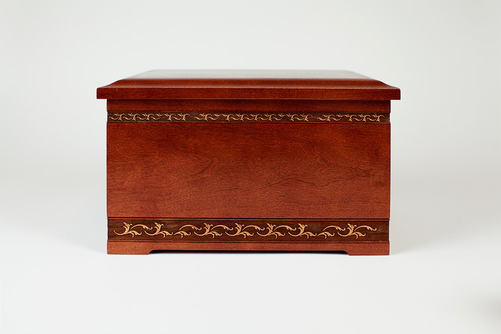 Cherry Wood Cremation Urn - Front