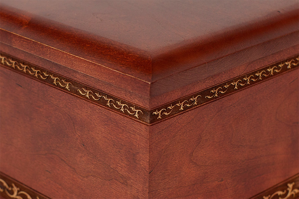Cherry Wood Cremation Urn - Detail