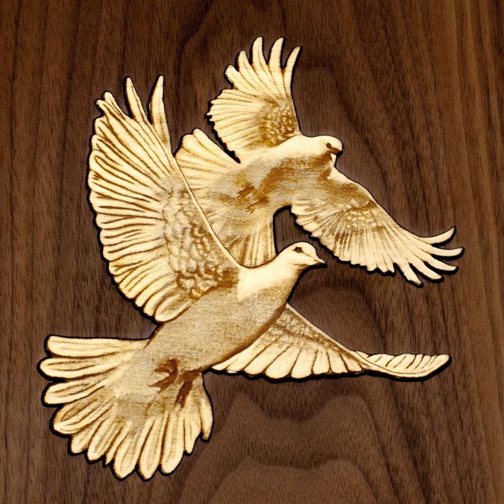 Lovebirds Inlay - Maple and Walnut wood