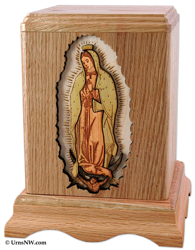 Our Lady of Guadalupe Cremation Urn in Oak