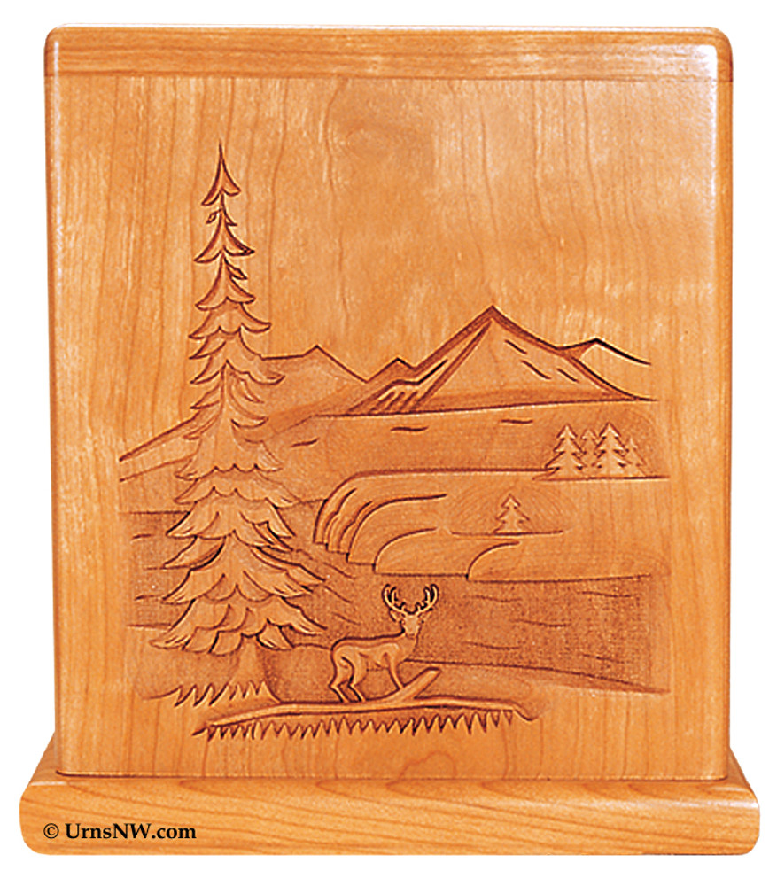 Cherry Urn with deer and mountain scene