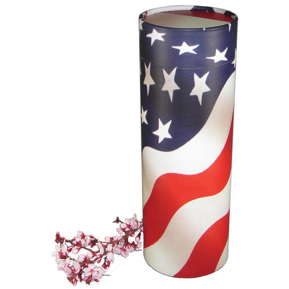 American Flag Scattering Urn Tube
