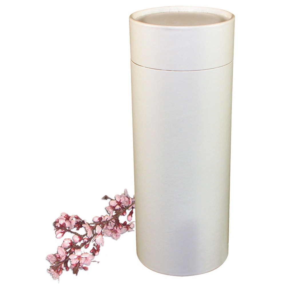 White Leather Scattering Urn Tube