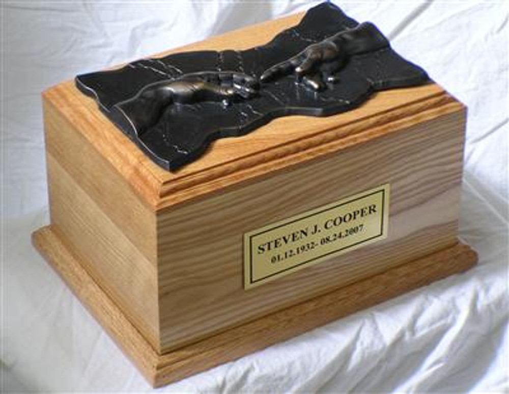 Hand of God Wood Cremation Urn Oak Bronze Plaque