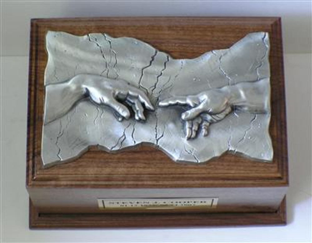 Hand of God Wood Cremation Urn Walnut Pewter Plaque