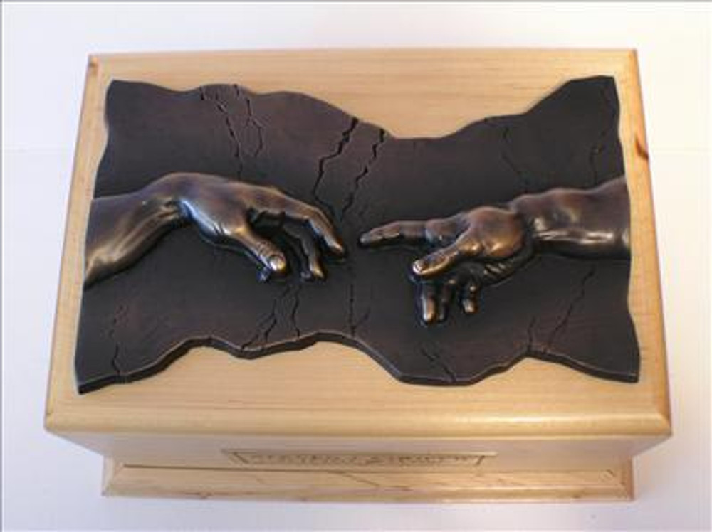 Hand of God Wood Cremation Urn Maple Bronze Plaque